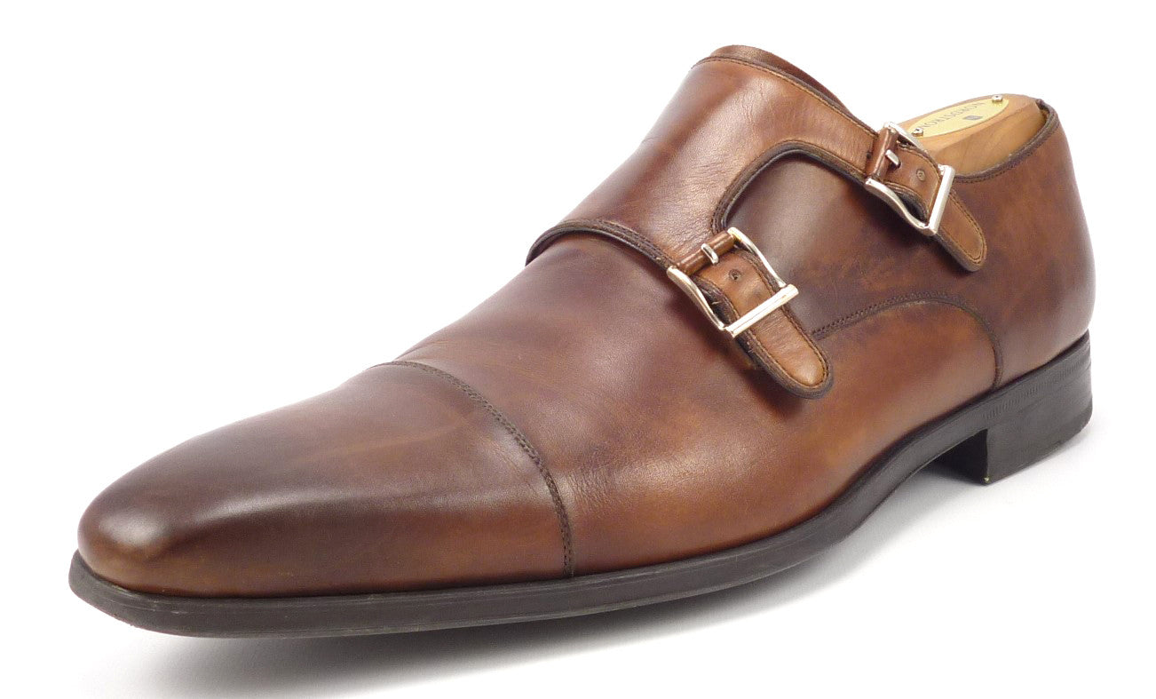 912216f844f3 Magnanni Mens Shoes 9.5 Leather Monk Strap Loafer Brown ...
