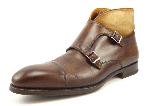 Magnanni Mens Shoes Size 11 Valerio Leather Monk Strap Ankle Boots Brown Pre-owned