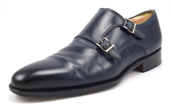 Magnanni Men's Shoes Size 9 US Leather Double Monk Strap Loafers Dark Blue Pre-owned