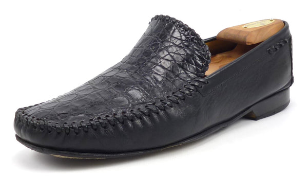 Mezlan Men's Shoes Size 10.5 US Comino Leather & Crocodile Loafers Black Pre-owned