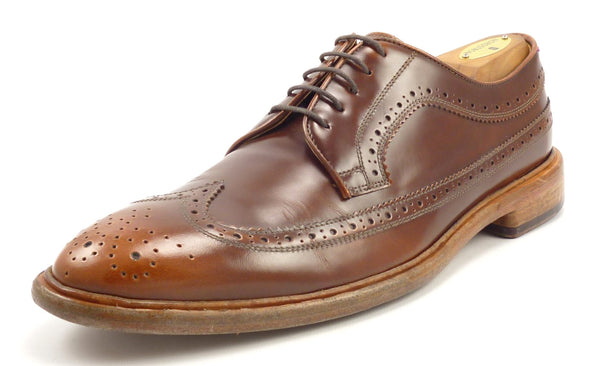 Paul Smith Men's Shoes Size 9, 9.5 US Lincoln Longwing Leather Oxfords Brown Pre-owned