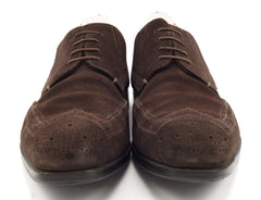 Prada Mens Shoes Size 10, 11 US Suede Wingtip Oxfords Brown