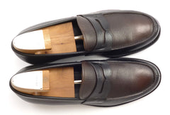 Prada Mens Shoes Size 9, 10 US Saffiano Leather Strap Loafers Black, Brown