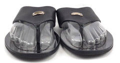 Prada Men's Shoes 6, 7 US Leather Thong Sandals 2Y1508 Black
