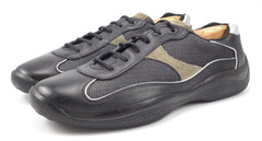 Prada Men's Shoes 9.5, 10.5 US Leather & Nylon Lace Up Sneakers Black