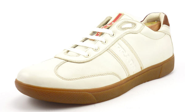 Prada Mens Shoes Size 9.5, 10.5 US Leather Lace Up Sneakers Ivory