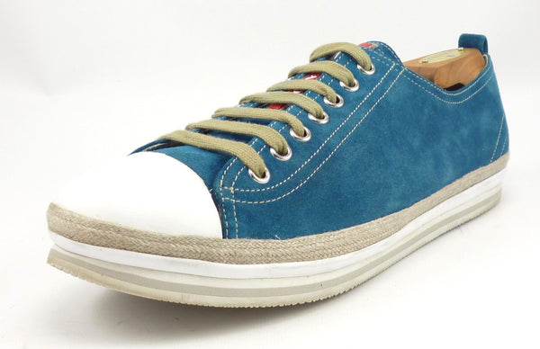 Prada Mens Shoes Size 9, 10 US Suede Espadrille Sneakers Blue