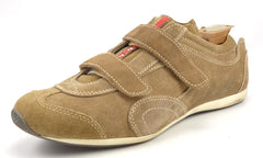 Prada Men's Shoes Size 6, 7 US Suede Double Strap Sneakers Brown