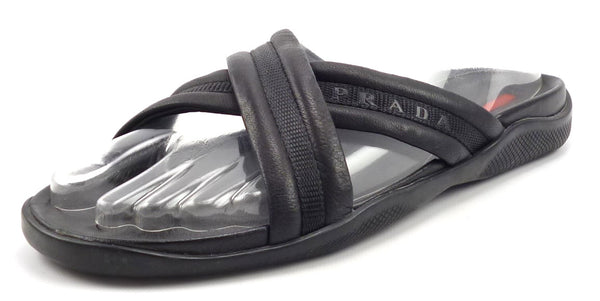 Prada Mens Shoes Size 7, 8 US Leather Cross Strap Sport Sandals Black