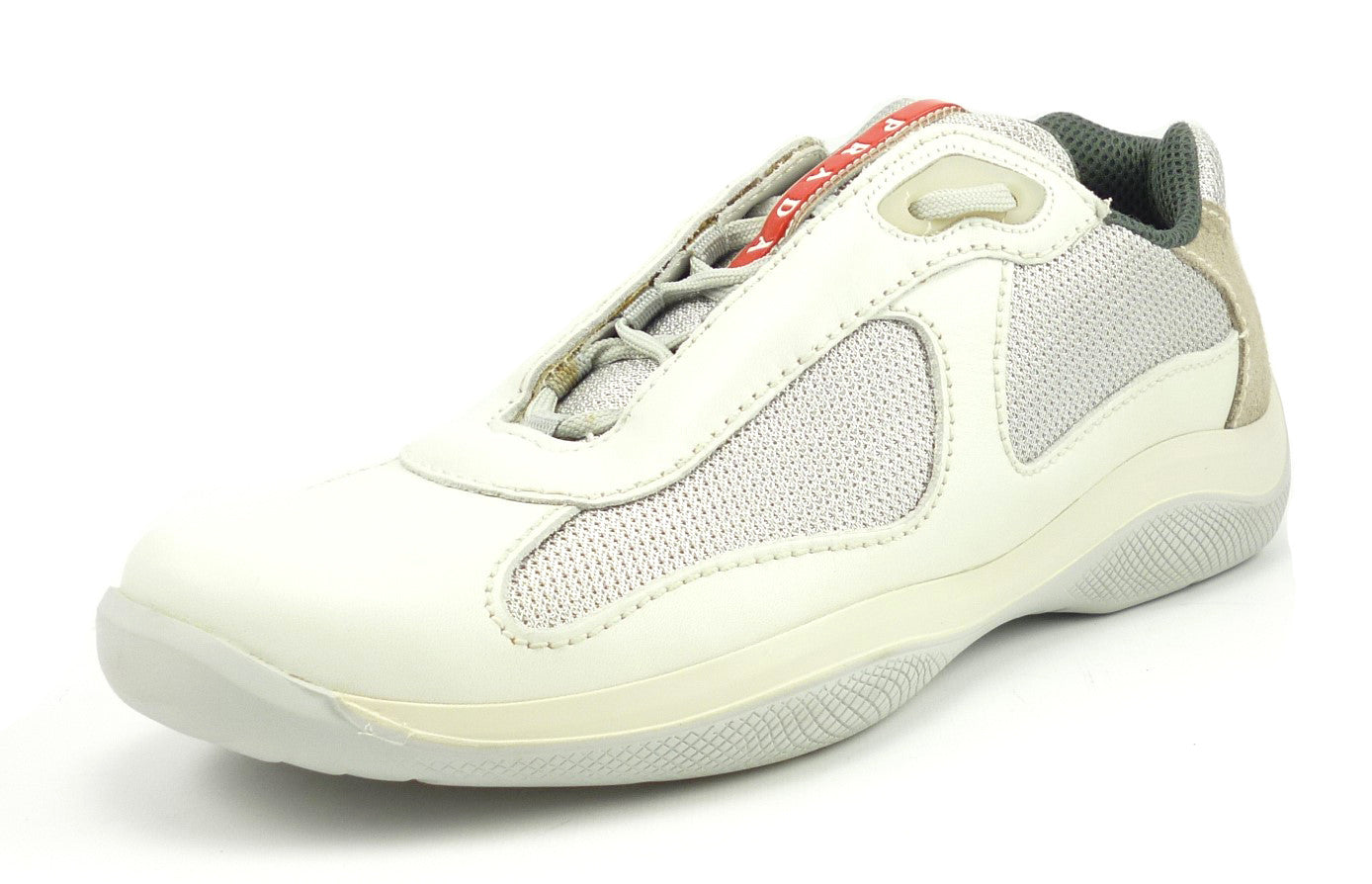 Prada New Mens Shoes Size 10.5, 11.5 US Punta Ala Leather & Mesh Sneakers White