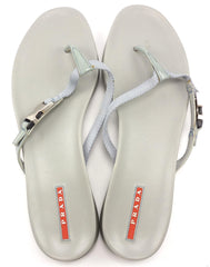Prada Womens Shoes 41, US 10.5 Buckle Accent Thong Sandals Gray