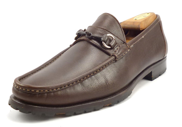 Santoni Mens Shoes Size 8, 9 US Leather Bit Loafers Brown