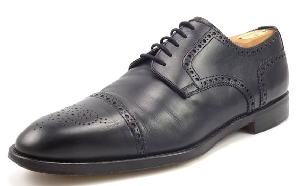 Santoni Mens Shoes Size 9.5 US Kemp Leather Cap Toe Oxfords Black Pre-owned