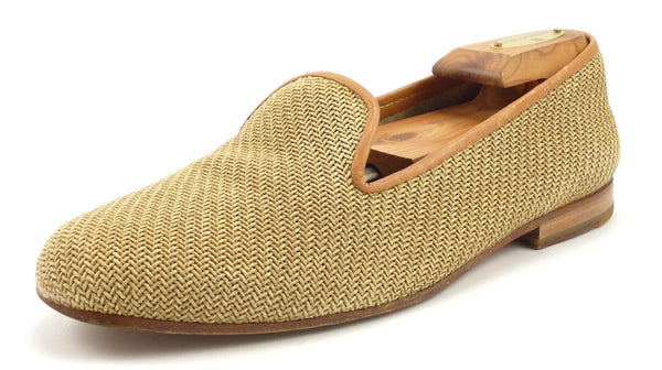 Stubbs & Wootton Men's Shoes Size 8 US Woven Straw Slipper Loafers Tan Pre-owned