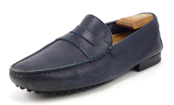 Tod's Mens Shoes Size 6.5 US Pebbled Leather Loafers Dark Blue Pre-owned