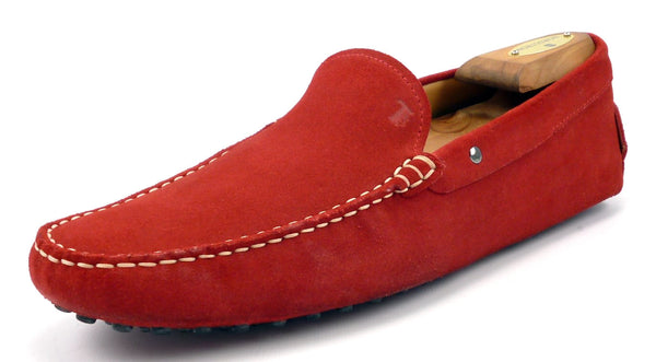 Tod's Men's Shoes 9 US Nubuck Suede Leather Driving Moccasins Red Pre-owned