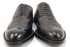 Versace Men's Shoes 44, 11 US Reptile Embossed Leather Wingtip Oxfords Black