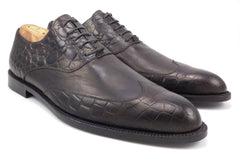 Versace Men's Shoes 42, 9 US Reptile Embossed Leather Wingtip Oxfords Black
