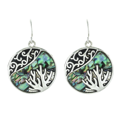 Coral Abalone Earrings