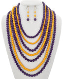 Purple and Yellow Layered Necklace Set