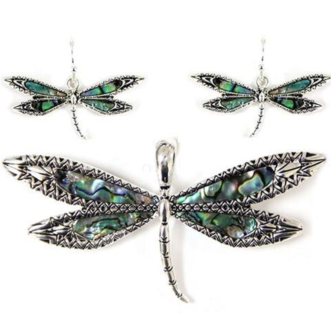 Dragonfly Pendant and Earrings Set