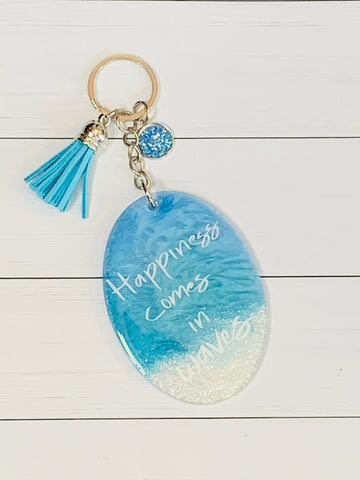 Happiness Comes in Waves Keychain