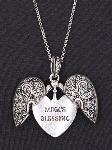 Mom's Blessing Message Locket Necklace