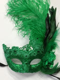 Green Lace Mardi Gras Mask