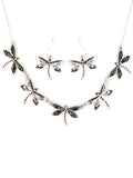 Abalone Dragonfly Necklace Set