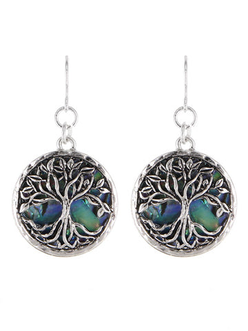 Abalone Tree of Life Earrings
