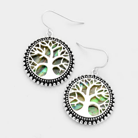 Tree of Life Abalone Earrings