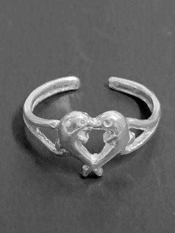 Kissing Dolphin Toe Ring