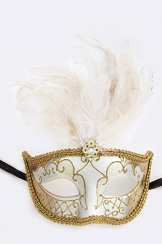 White and Gold Mardi Gras Mask