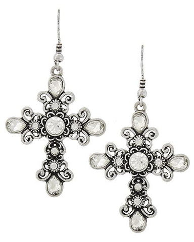 Antiqued Cross Earrings
