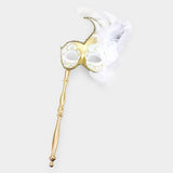 White and Gold Mardi Gras Mask on Stick