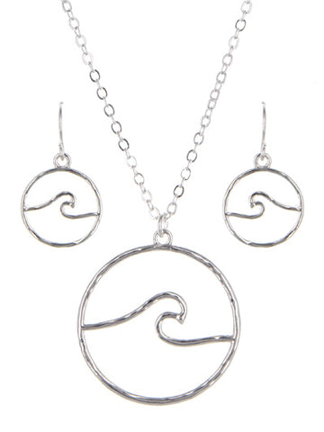 Wave Necklace and Earrings Set