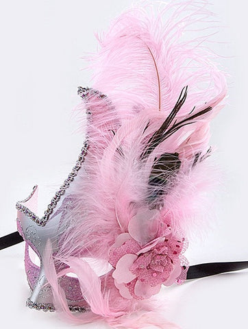 Pink and Silver Mardi Gras Mask