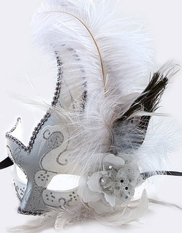 White and Silver Mardi Gras Mask
