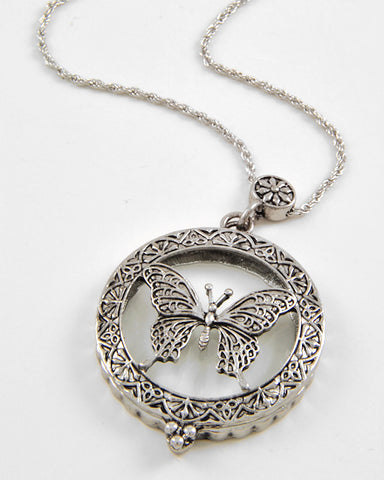 Butterfly Magnifying Glass Necklace
