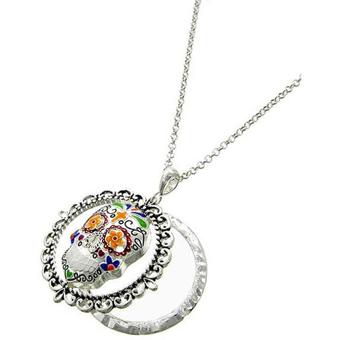 Sugar Skull Magnifying Glass Necklace