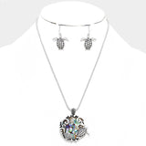 Abalone Turtle Necklace and Earring Set