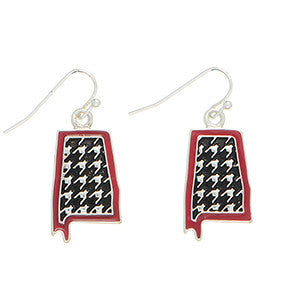 Houndstooth Alabama State Earrings