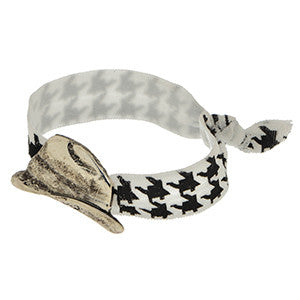 Houndstooth Fedora Hair Band/ Bracelet
