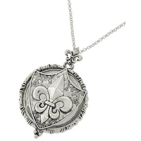 Fleur de Lis Magnifying Glass Necklace