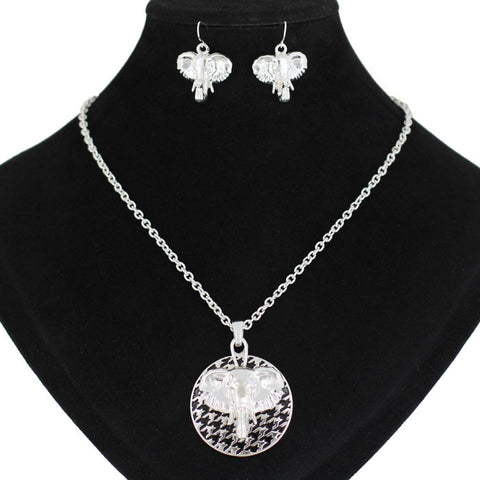 Elephant Houndstooth Necklace Set