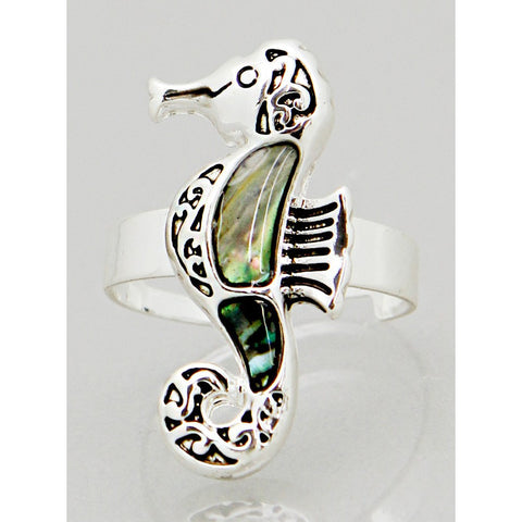 Abalone Seahorse Ring