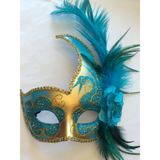 Teal and Gold Venetian Style Mardi Gras Mask