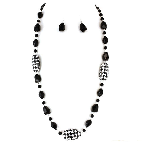 Houndstooth Necklace and Earring Set