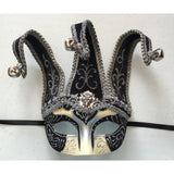 Black and Silver Jester Mardi Gras Mask