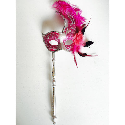 Pink and Silver Mardi Gras Mask on Stick